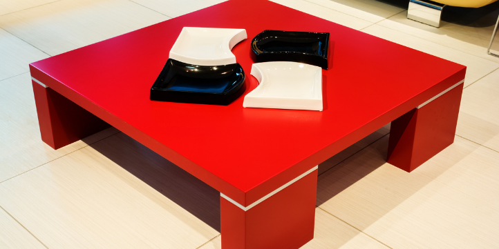 Place a red coffee table  – Live More Zone
