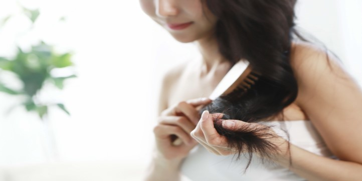 Change the partition of hair